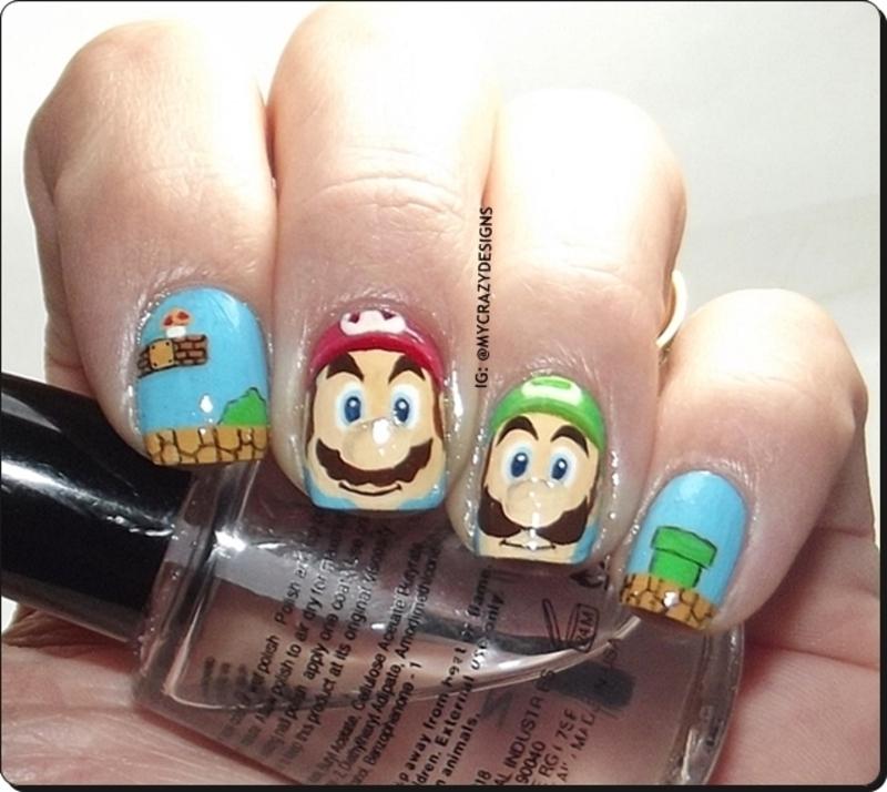 Mario Bros nails nail art by Mycrazydesigns