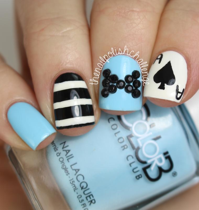 Alice in Wonderland Skittle nail art by Kelli Dobrin