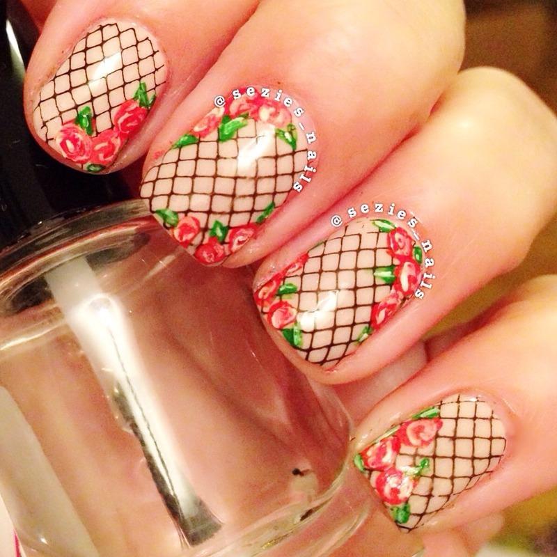 Rose nails nail art by Sarah Bellwood