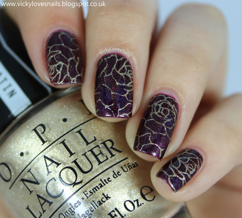 Rose Stamping nail art by Vicky Standage
