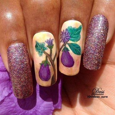 Eggplant nail art by Dess_sure
