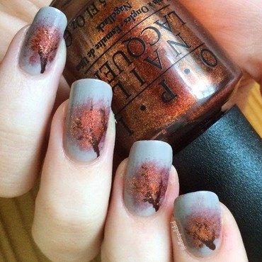 Fall Trees nail art by allwaspolished
