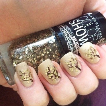 Golden Leaves nail art by allwaspolished