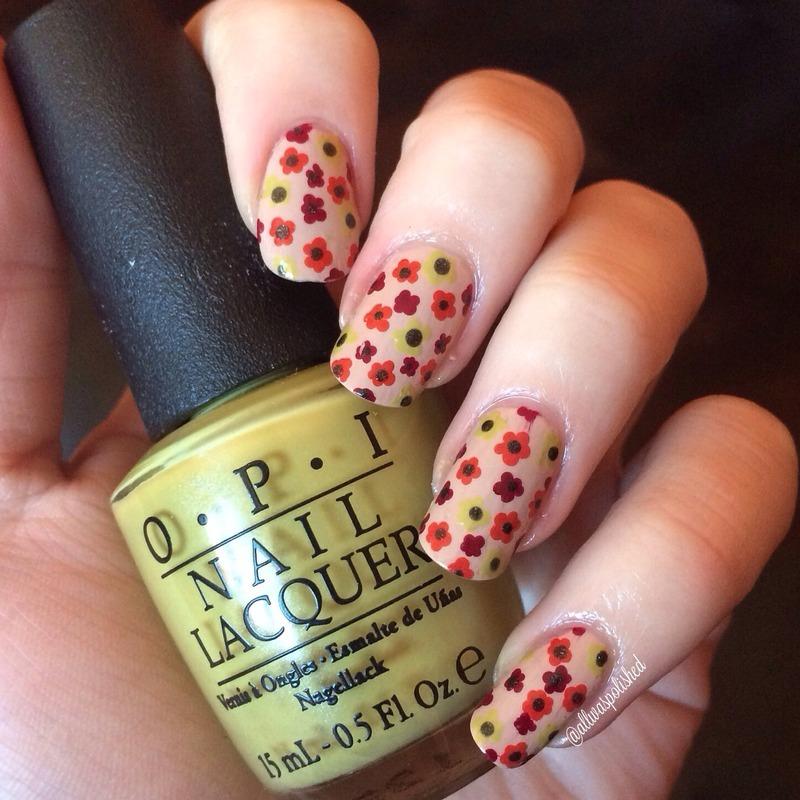 Fall Flowers nail art by allwaspolished