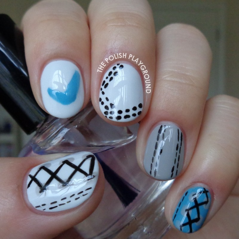 White, Grey, and Blue Nike Inspired Shoe Nail Art nail art by Lisa N