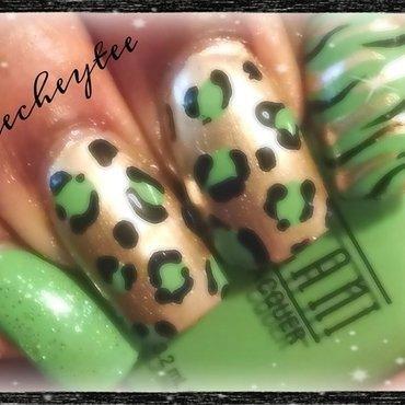 Green leopard spots nail art by peecheytee