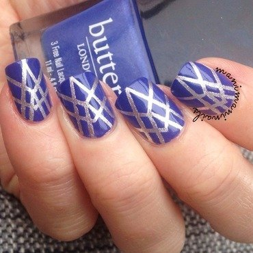 Blue and silver striping tape mani nail art by manimaninails