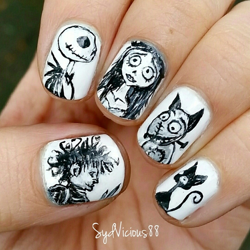 Tim Burton Nails nail art by SydVicious