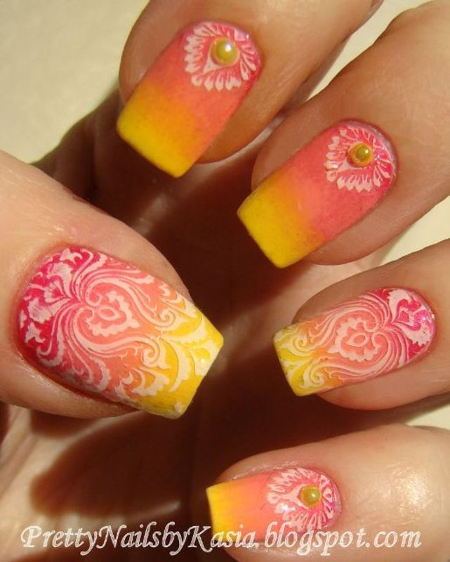 Pink & yellow gradient + stamping nail art by Pretty Nails by Kasia
