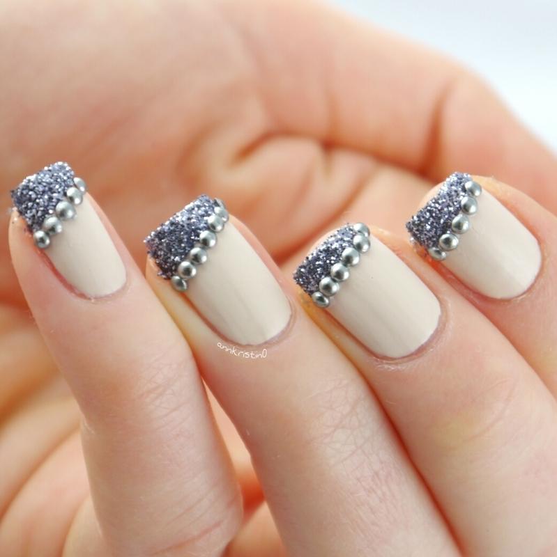 Studded Glitter French Close nail art by Ann-Kristin