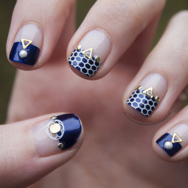 blue meets gold nail art by Jule