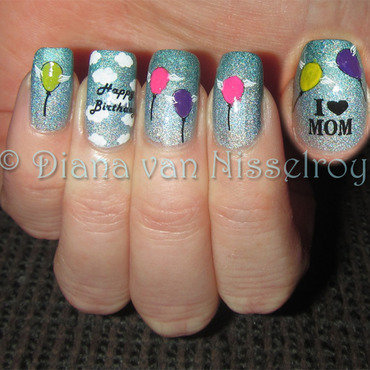 Happy Birthday in Heaven! nail art by Diana van Nisselroy
