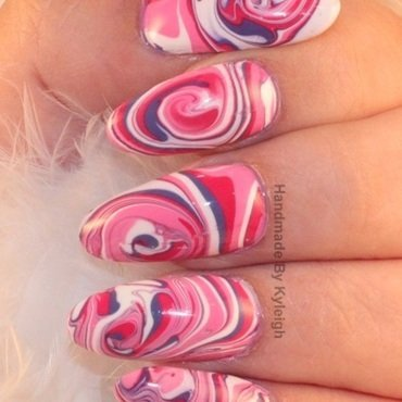 Water Marble nail art by  Kyleigh  'Handmade By Kyleigh'