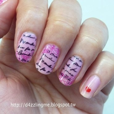 Love Letter  nail art by D4zzling Me