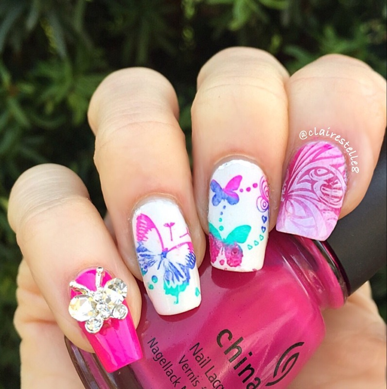 Butterfly Nails nail art by Claire O'Sullivan