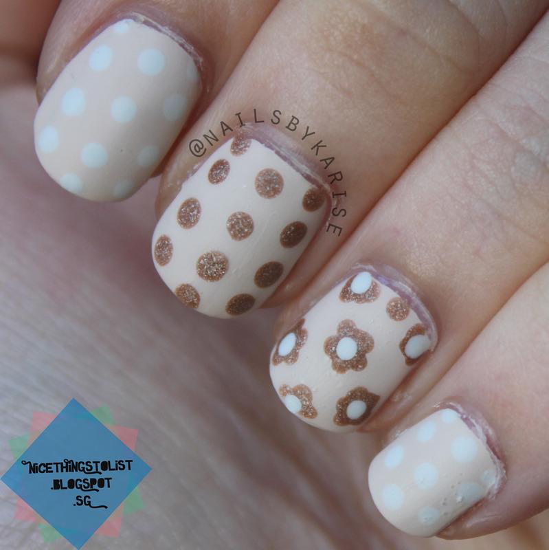 Polka Dots and Floral Nude Mani nail art by Karise Tan