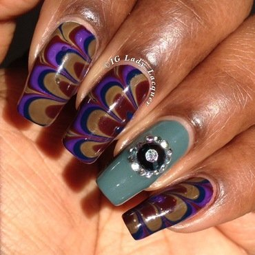 Victorian Watermarble  nail art by Kerri
