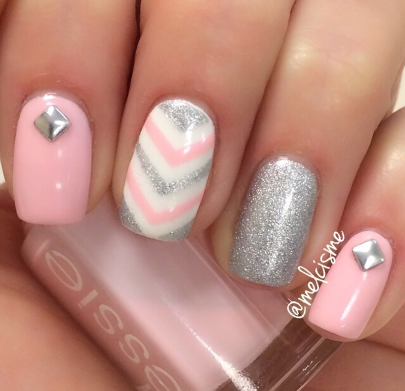 Pink & Silver  nail art by Melissa