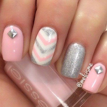 Pink & Silver  nail art by Melissa
