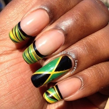 Jamaican French Watermarble  nail art by Kerri