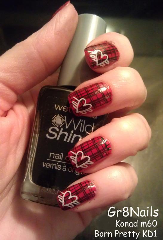Valentine Plaid  nail art by Gr8Nails