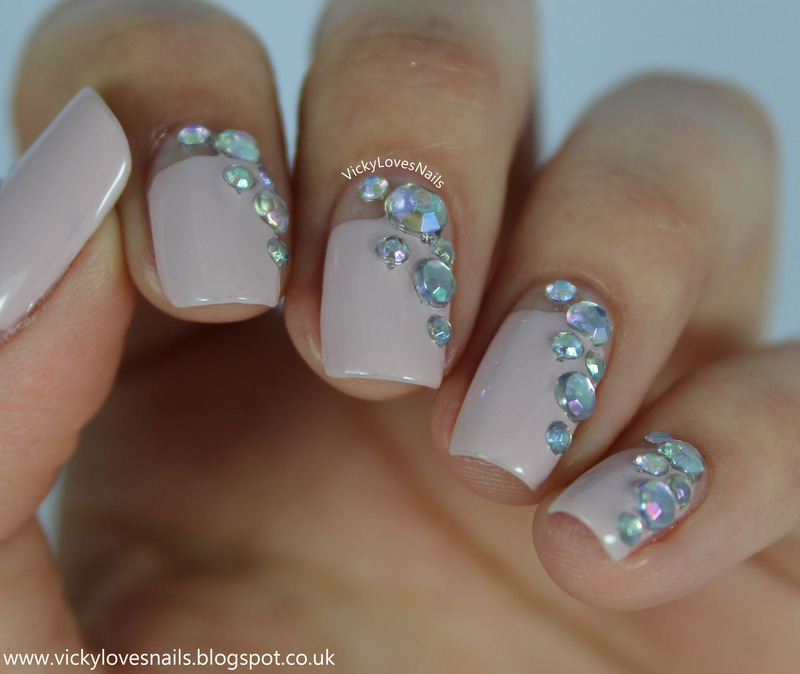 Negative Space & Rhinestones nail art by Vicky Standage