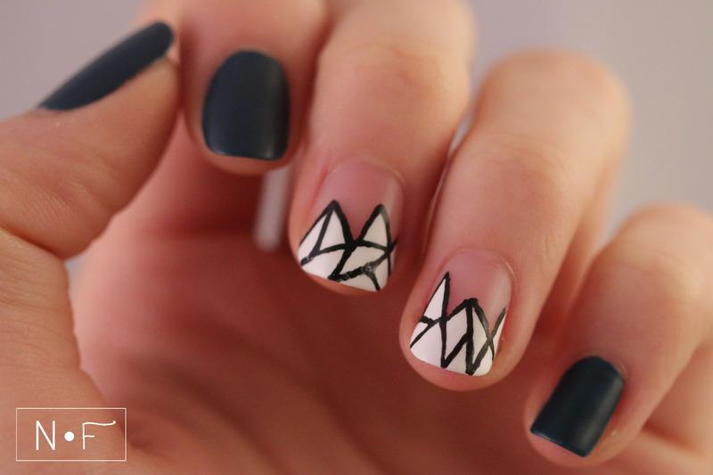 Geometric French nails nail art by NerdyFleurty