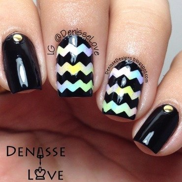 Water Color Chevrons nail art by Denisse Love