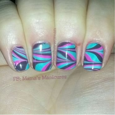 Watermarble nail art by Mama's Manicures (maherwoman)
