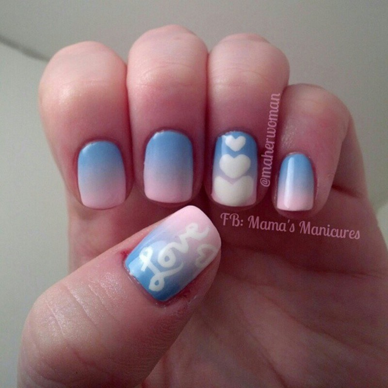 Love Gradient nail art by Mama's Manicures (maherwoman)