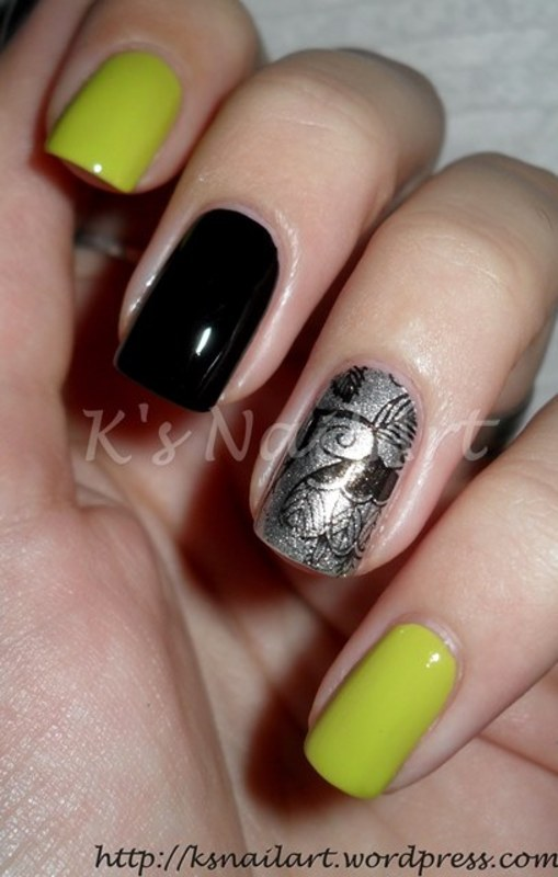"Skittlette in Chartreuse and Floral nail art by Kairi E ""K's NailArt"""