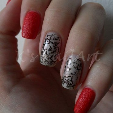 Red textured floral nails 1 thumb370f
