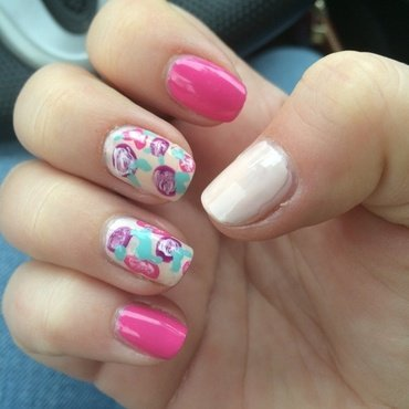 Spring Roses nail art by Lindsay