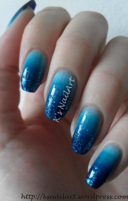 "Blue Winter Gradient nail art by Kairi E ""K's NailArt"""