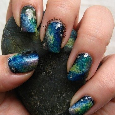 Nebula or Labradorite? nail art by Vedrana Brankovic