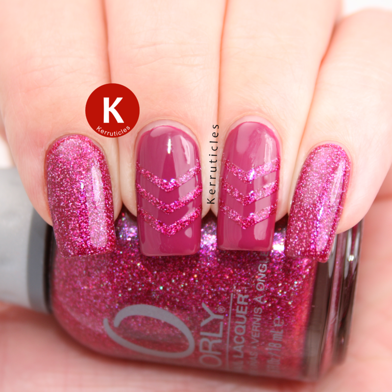 Pink holographic chevrons nail art by Claire Kerr