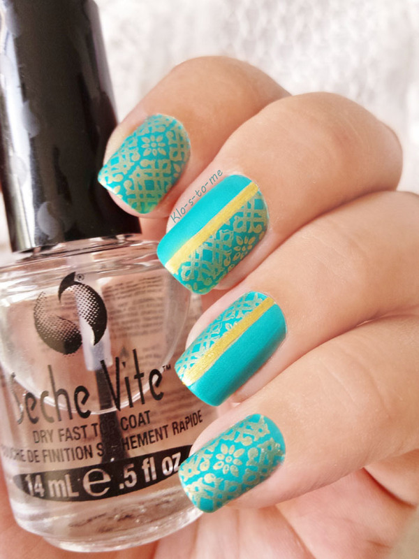Oriental Turquoise nail art by klo-s-to-me