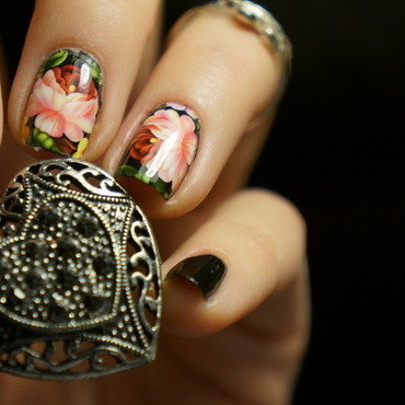 Peony flower nail art by PaznokcioweLovee