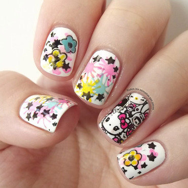 Charuca and Hello Kitty nail art by Maria