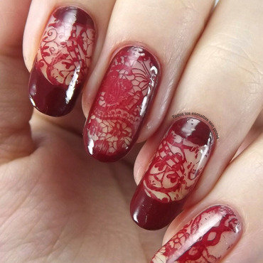 Burgundy lace nail art by Maria