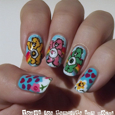 Care Bears nail art by Maria