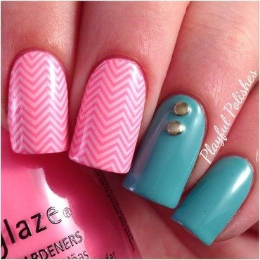 Chevron Nail Art nail art by Playful Polishes