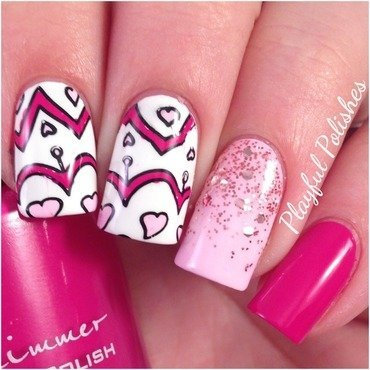 Valentine's Stamp nail art by Playful Polishes
