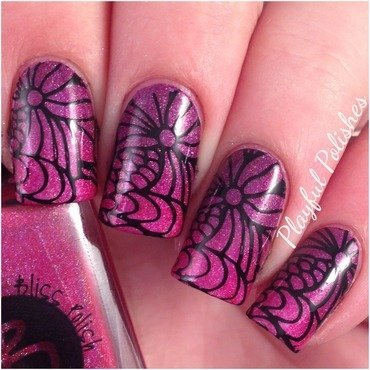 Holo Flower Stamp nail art by Playful Polishes