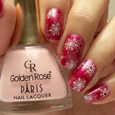 Pink Snowflakes nail art by PolishCookie