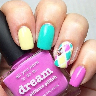 Harlequin Colorful  nail art by Blackqueennailsdesign