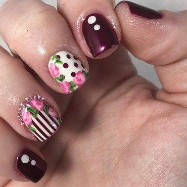 Vintage Roses nail art by Crystal Bond