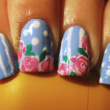Vintage Florals nail art by Emily