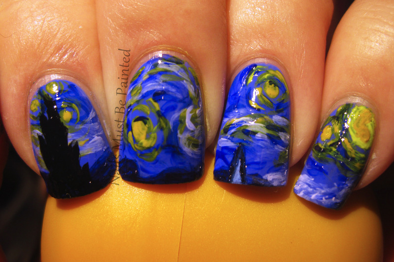 A Starry Night nail art by Emily