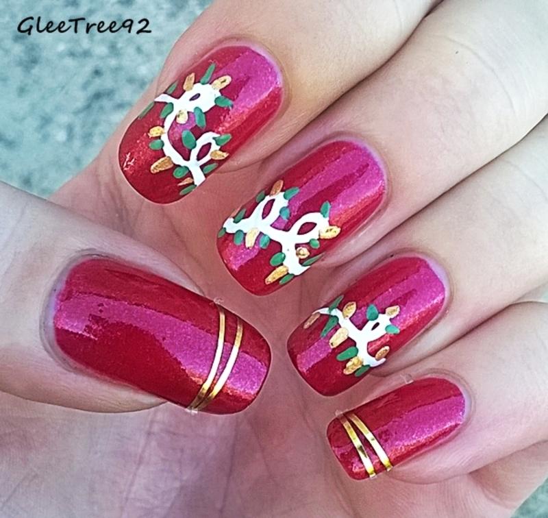 Christmas Lights nail art by Mila